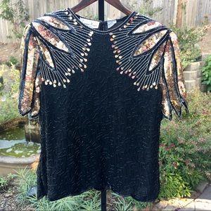 Vintage Laurence Kazar Silk Beaded Top